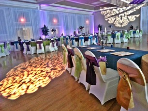 Decorative Pattern GOBO Lights and Purple LED Up Lights with Sheer White Draping